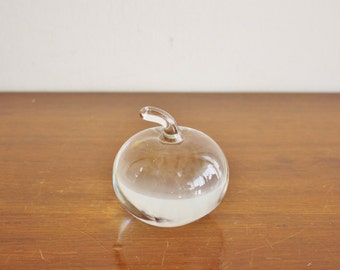 Vintage solid glass apple paperweight