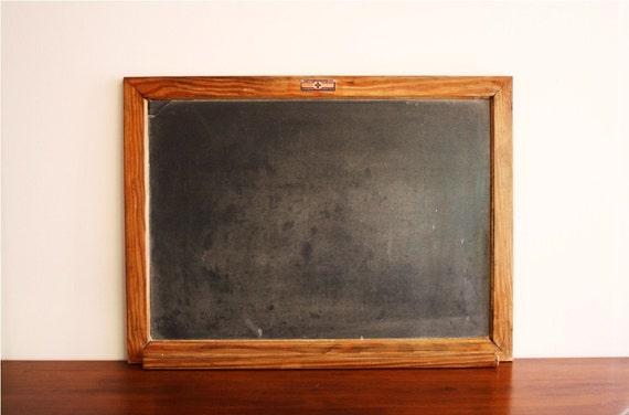 Vintage National School Slate Company slate chalkboard with wooden frame