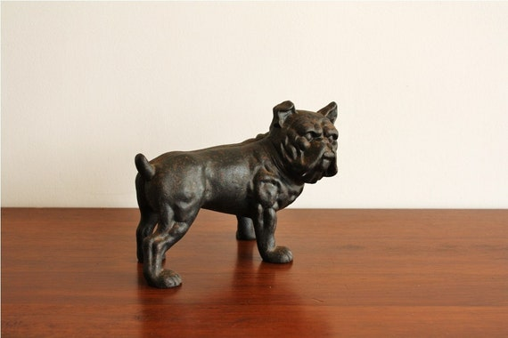 Vintage Cast Iron Bulldog Dog Bank Door Stop