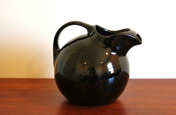 Vintage black Halls ironstone ball jug pitcher