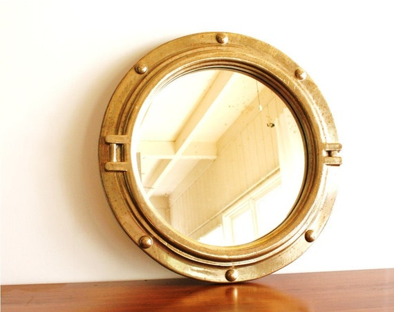 Vintage 1970s round porthole style gold mirror by for Porthole style mirror