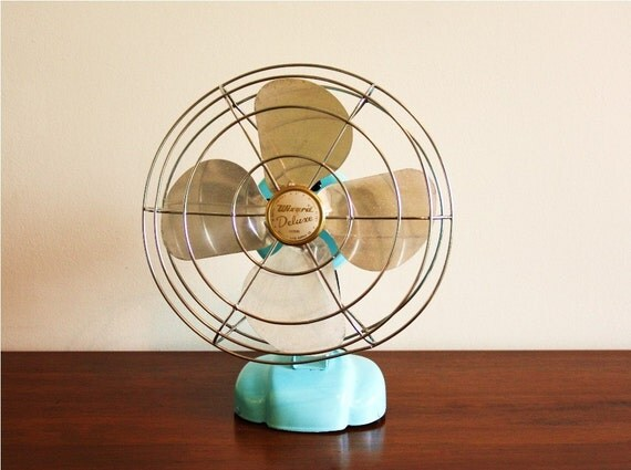 Refurbished vintage electric Wizard fan in aqua blue