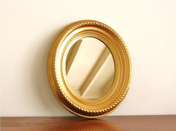 Vintage round gold mirror by highstreetmarket on Etsy