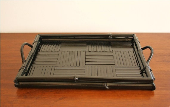 Black Bamboo Serving Tray With Rails And Handles Vintage