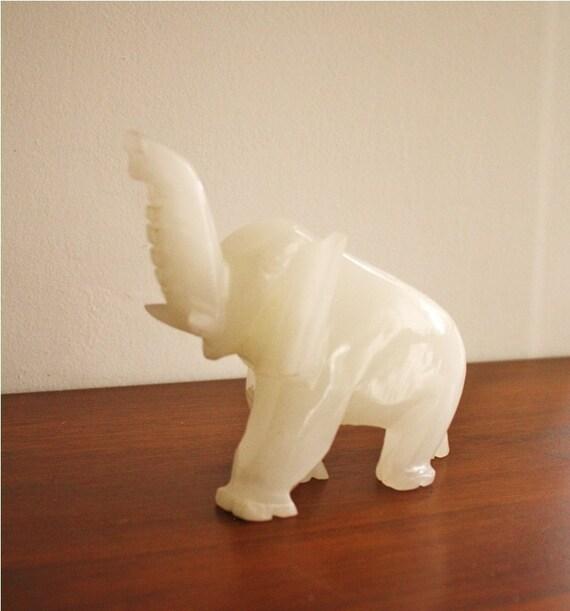 Large Vintage White Onyx Marble Elephant