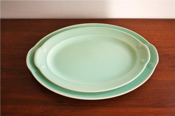 LuRay Pastels, pair of vintage blue ironstone platters