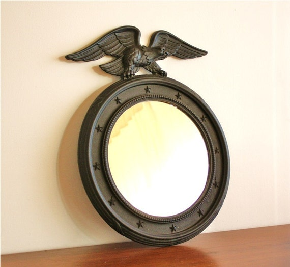 Vintage Round Cast Iron Mirror With Eagle By Highstreetmarket