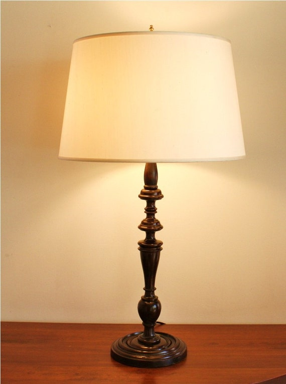 Antique Turned Wood Table Lamp By Highstreetmarket On Etsy