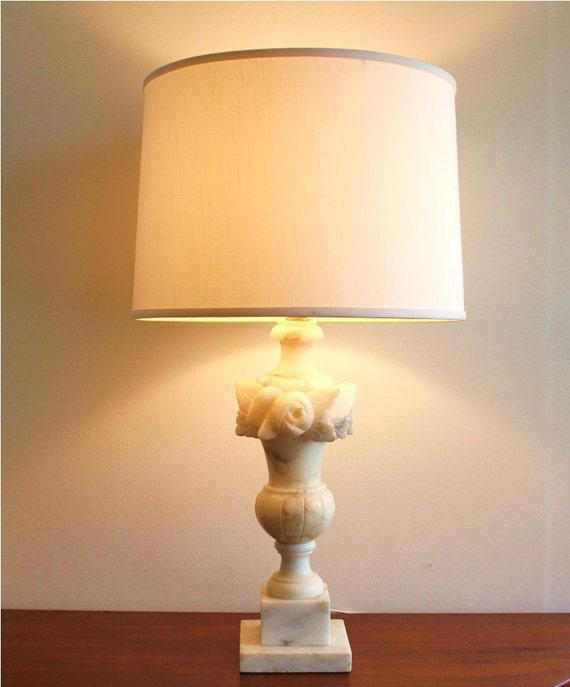 Vintage white marble table lamp with gray veining