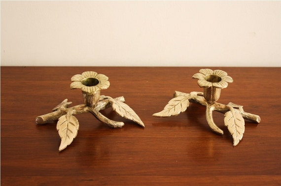 Vintage pair of brass floral and twig candlesticks