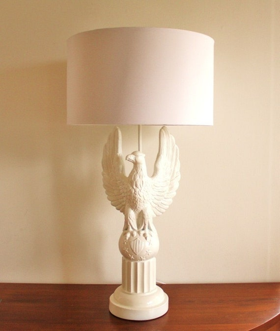 Large 1960 White Eagle Table Lamp With White By