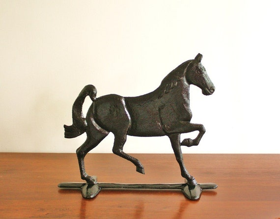 Antique Black Cast Iron Horse Doorstop