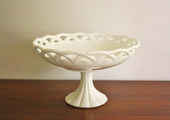 Vintage large milk glass pedestal bowl with a lattice edge