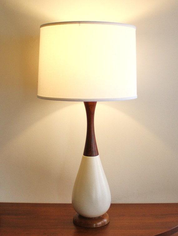 Modern Ceramic Table Lamps: Mid-century modern table lamp, white ceramic with teak,Lighting