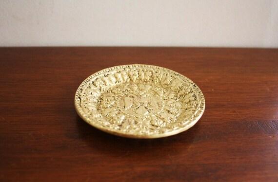Antique cast brass dish