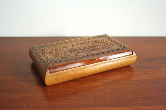 Vintage wooden box with lid made in Western Germany