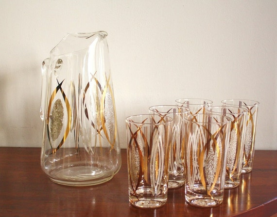 RESERVED -- 1960s Set of 6 handpainted glasses and matching serving pitcher