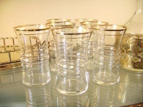 Set Of 7 Vintage Gold Trimmed Glasses For The Bar