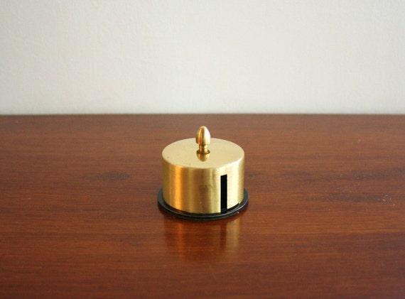 Vintage brass stamp dispenser, desktop stamp holder