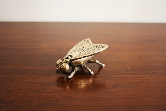 Vintage brass fly with flip up wings