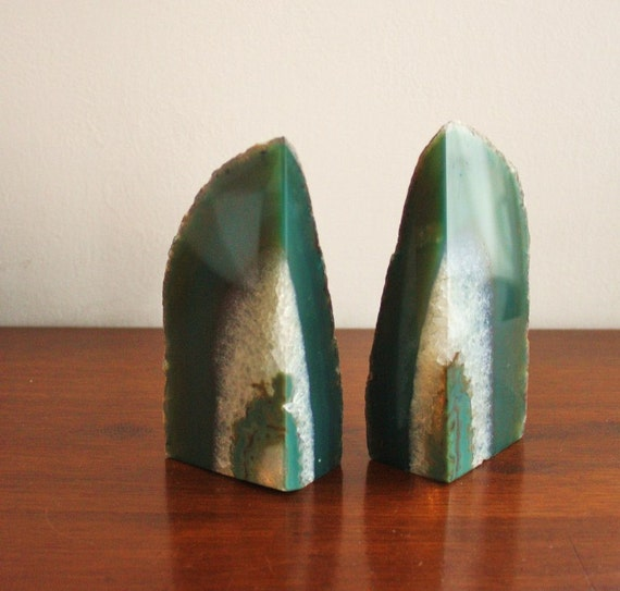 Heavy midcentury modern stone agate quartz bookends