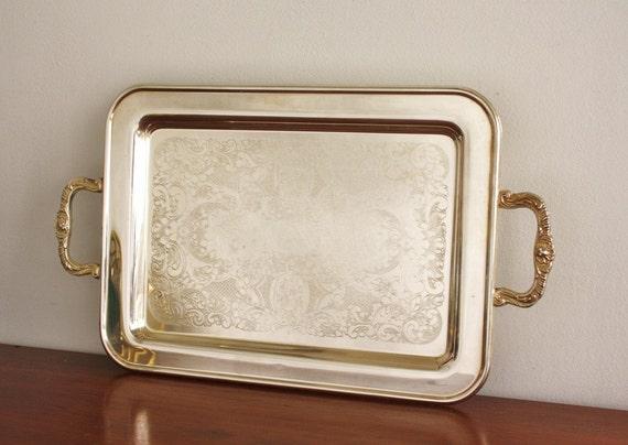 Vintage rectangular silver serving tray, Leonard Silver
