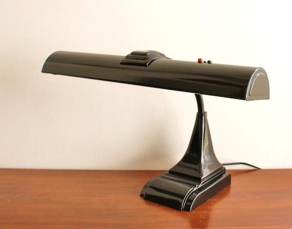 Vintage black modern industrial desk lamp, Chicago