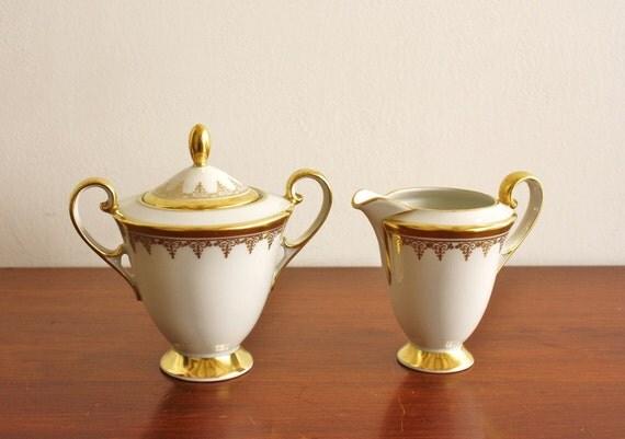 1920s Porcelain sugar and creamer set, Bavaria Germany