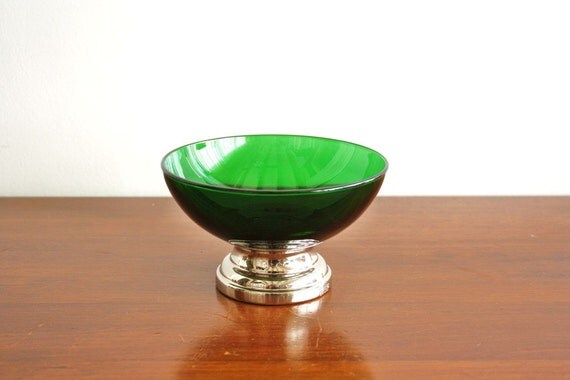 Vintage green glass and silver plated footed bowl