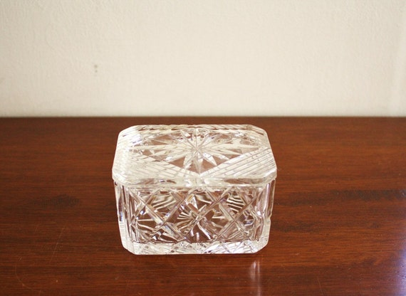 RESERVED -- Vintage rectangular crystal box with lid