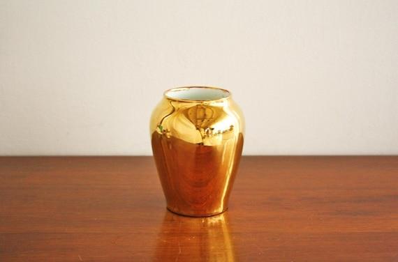 Vintage gold porcelain vase, Bavaria