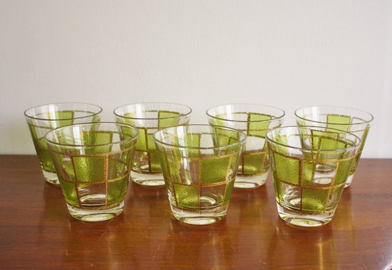 RESERVED -- 1960s Set of 7 gold and green glasses, by Culver