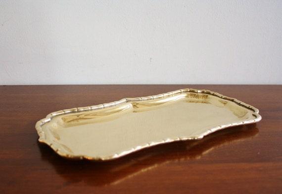 Vintage faux bamboo brass rectangular vanity tray