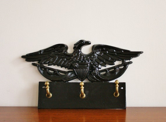 Vintage cast metal and brass eagle wall hook