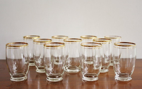 Set of 11 glasses with gold trim