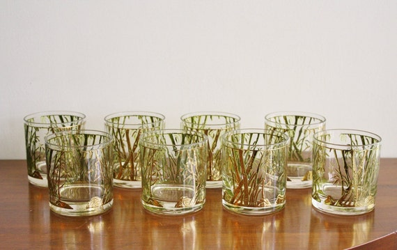 Vintage set of 8 cocktail glasses with gold bamboo detailing