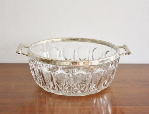 Vintage glass bowl with silver plated faux bamboo trim, Italy