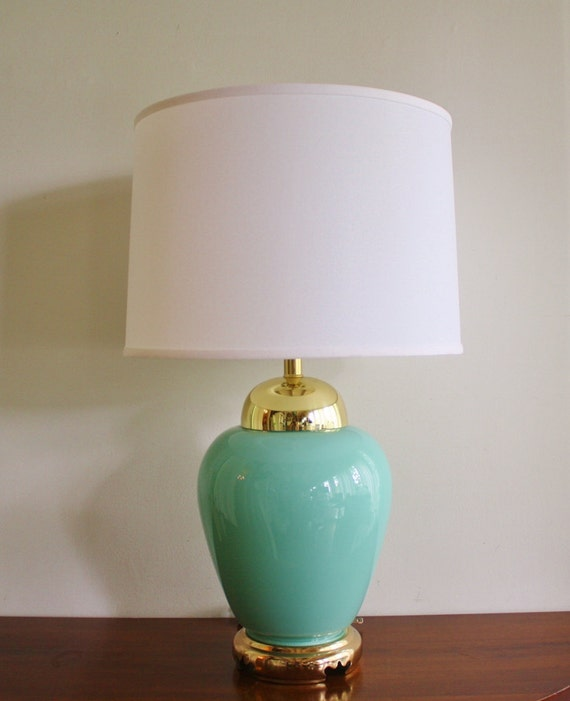 Vintage turquoise glass table lamp