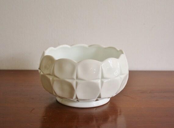 Vintage milk glass faceted vase or bowl