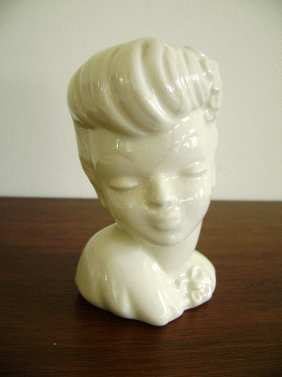 Vintage Porcelain Head Vase Lady Head Vase Usa By Highstreetmarket