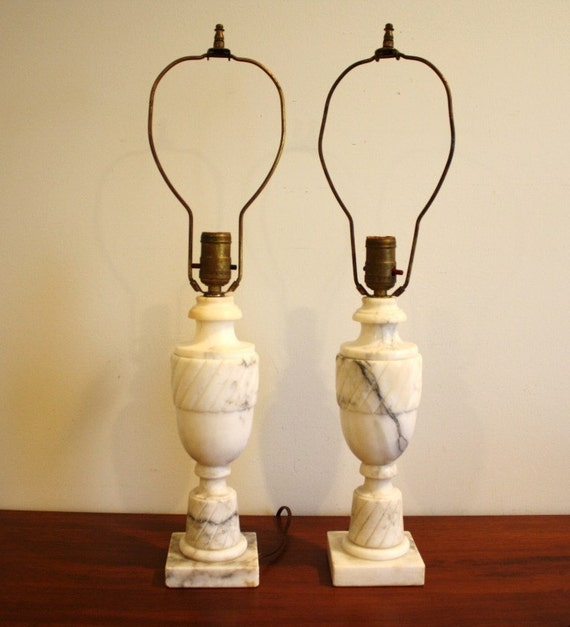 Vintage Pair Of Solid Marble Table Lamps