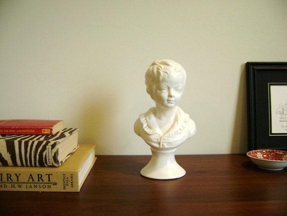 Ceramic little boy bust, vintage head statue