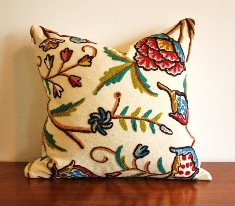 Original handmade CREWEL embroidered throw pillow 18 x 18 with