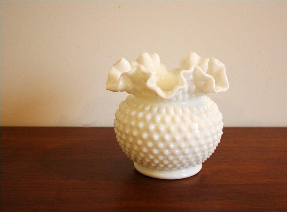 Vintage White Milk Glass Hobnail Round Ruffled Vase
