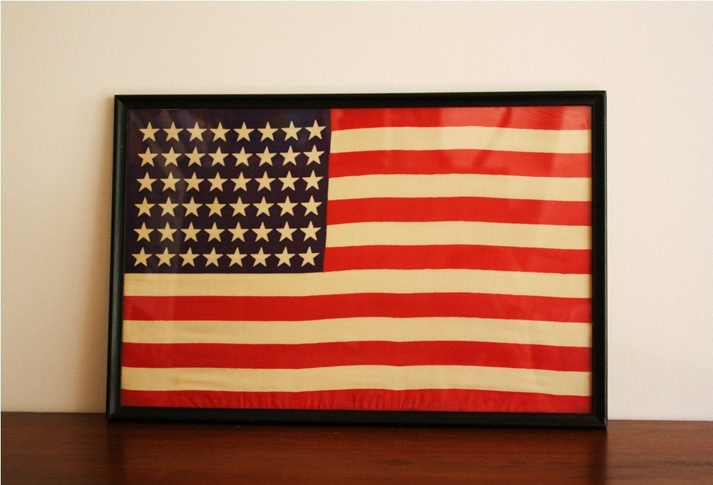 Vintage 48 Star American Flag Framed