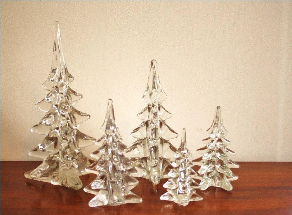 Set Of 5 Vintage Handmade Glass Christmas Trees