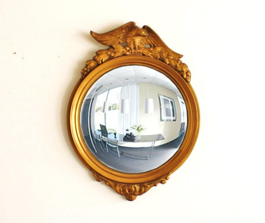 Vintage Federalist Eagle Convex Mirror Gold Gilding Solid