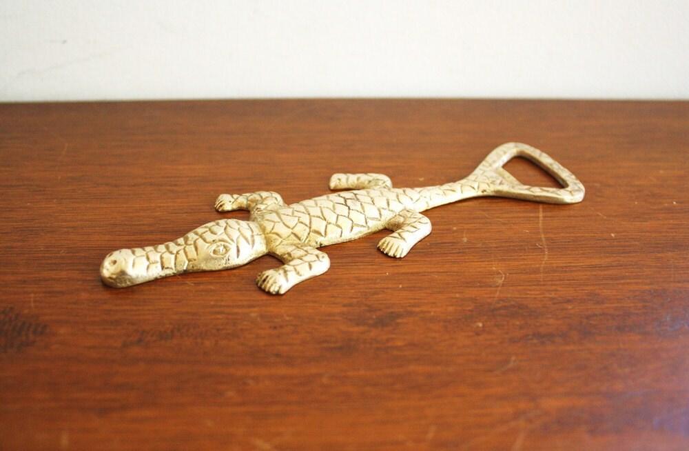 Vintage brass alligator bottle opener by highstreetmarket on etsy - Alligator bottle opener ...