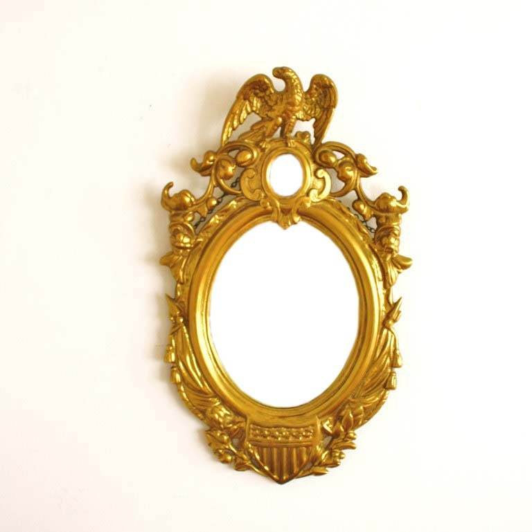 Federalist Style 1862 Patented Brass Eagle Wall Mirror