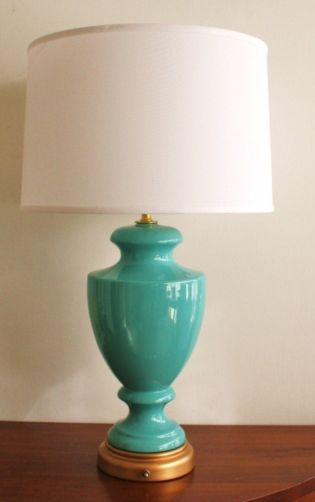 Desk lamps etsy vintage turquoise ceramic table lamp by highstreetmarket